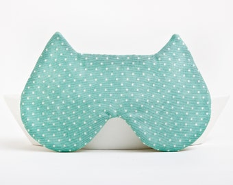 Cat Sleep Mask, Mint Cat Ears, Polka Dot Eye Mask, Travel Gifts for Women, Travel Mask, Gift for Wife, Cat Lover Gift, US Express