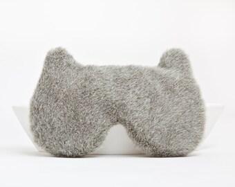 Fluffy Sleep Mask, groomsmen gift, travel men, Bear Mask, Gifts for travelers, Gift for Husband, Gray New Dad Gift