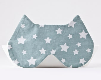 Mint Sleep Mask with the Stars, Cat Lover Gift, Girlfriend Gift, Cat Eye Pillow, Cat Sleep Mask, Stars Eye Mask, Mint Blindfold