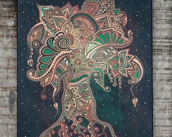 Tree of Life spiritual art, Yoga studio decor, Buddhist art, Indian wall decor, Zen art