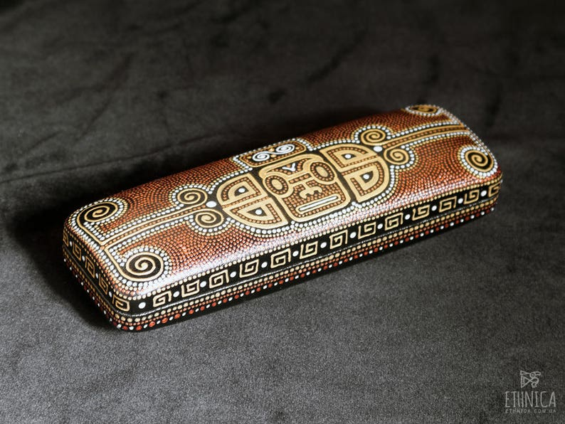 Mayan hard glasses case Mens eyeglass case Gift for teacher image 0