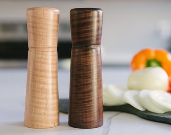 Maple Wood Salt and Pepper Shaker Set, Hand Turned Salt and Pepper Shakers, Rustic Kitchen Decor