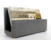 Grey Concrete Business Card Holder, Cement Business Card Holder, Cement Desk Accessories, Modern Desk Organizer, Concrete Office Supplies