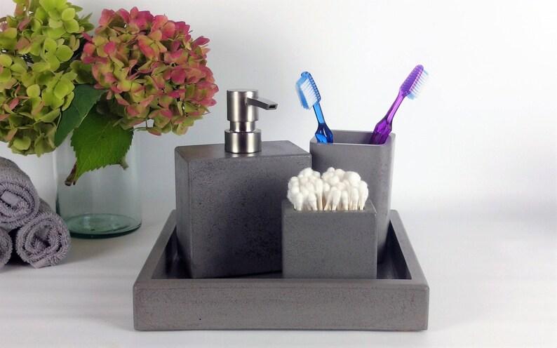 Set Da Bagno Moderno : Bagno accessori set set di accessori bagno cemento moderno etsy