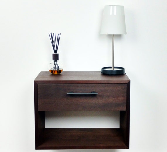 Black Floating Nightstand Nightstand With Drawer And Shelf Etsy