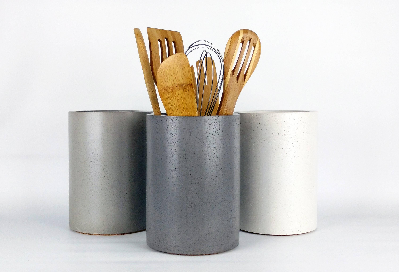Ordinaire Kitchen Utensil Holder, Concrete Utensil Holder, Kitchen Utensil Crock,  Kitchen Organization, Industrial Kitchen Decor, Designer Kitchen