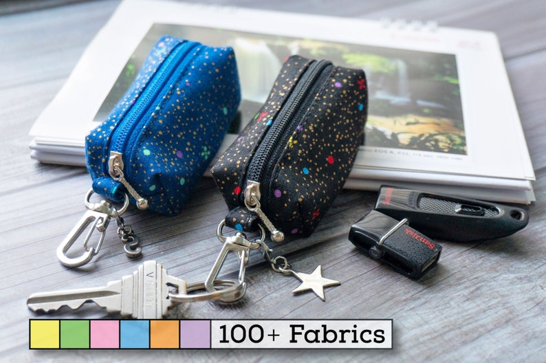 Small items Thumb drive small case for keychain keyring Small boxy pouch for USB drive Blue and black galaxy mini boxy pouch with clasp