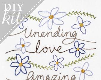 Amazing Grace - Embroidery Kit - Christian Hymn Home Decor - Wedding Housewarming Gift - Hand Stitching DIY Project