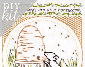 Pleasant Words - Complete Embroidery KIT - Honeycomb Beehive