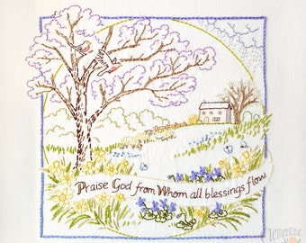 Praise God - Spring - 100% Cotton Embroidery Pattern