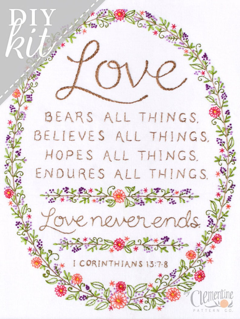 Love Never Ends Embroidery KIT  Wedding Anniversary Gift  image 0