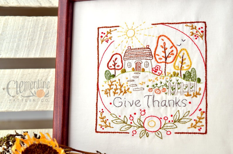 Give Thanks  Autumn  100% Cotton Embroidery Pattern  image 0