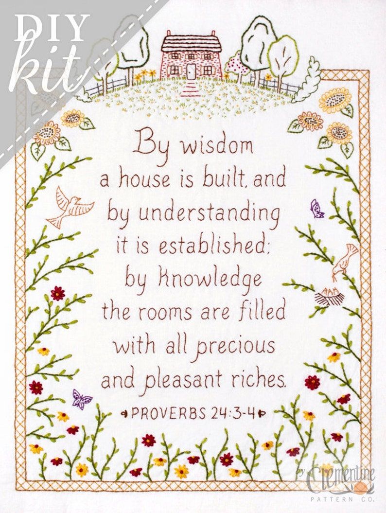By Wisdom a House is Built  Proverbs Embroidery KIT in Color image 0