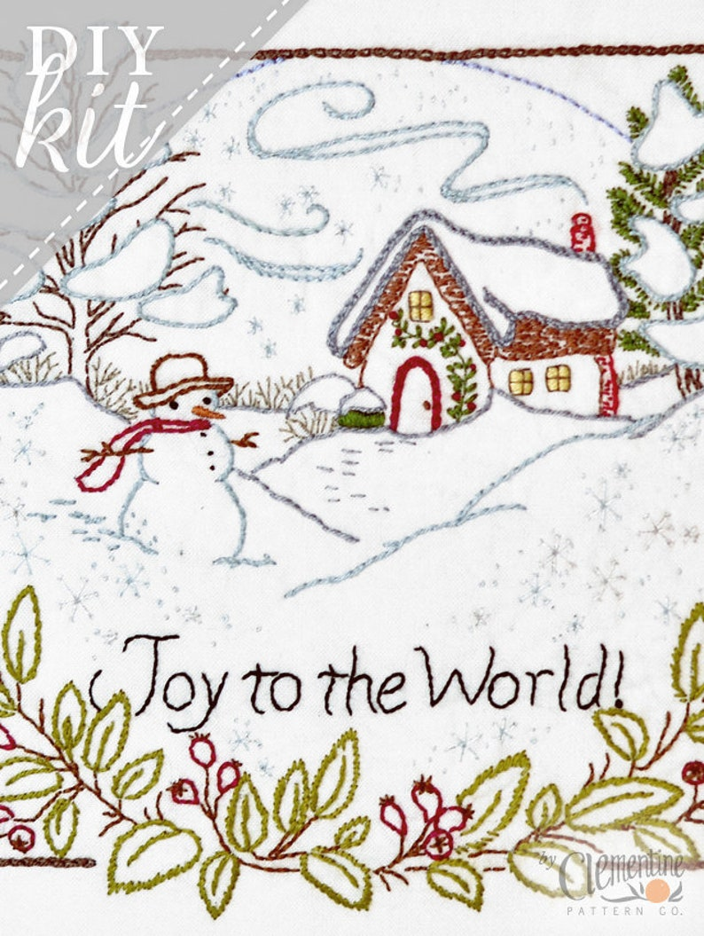 Joy to the World  Winter  Complete Embroidery KIT  image 0
