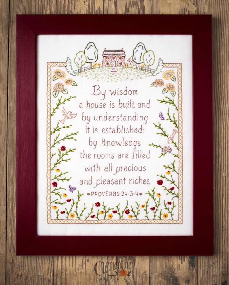By Wisdom a House is Built  Proverbs Embroidery Pattern in image 0