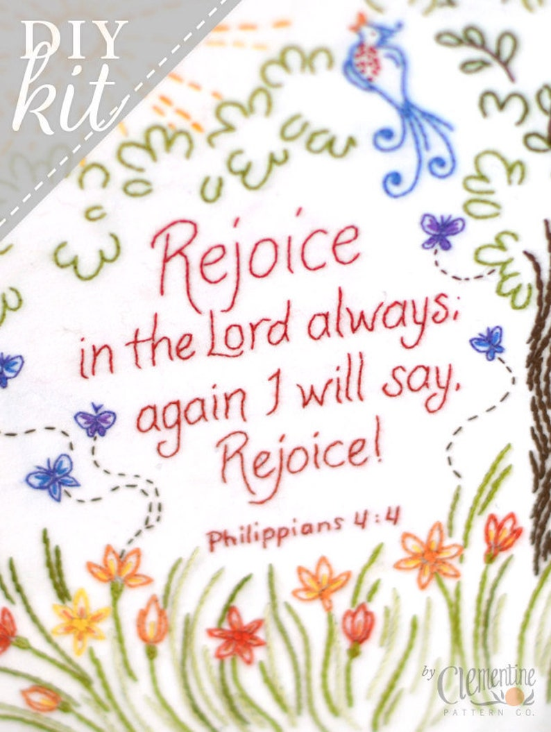 Rejoice in the Lord  Complete Embroidery KIT image 0