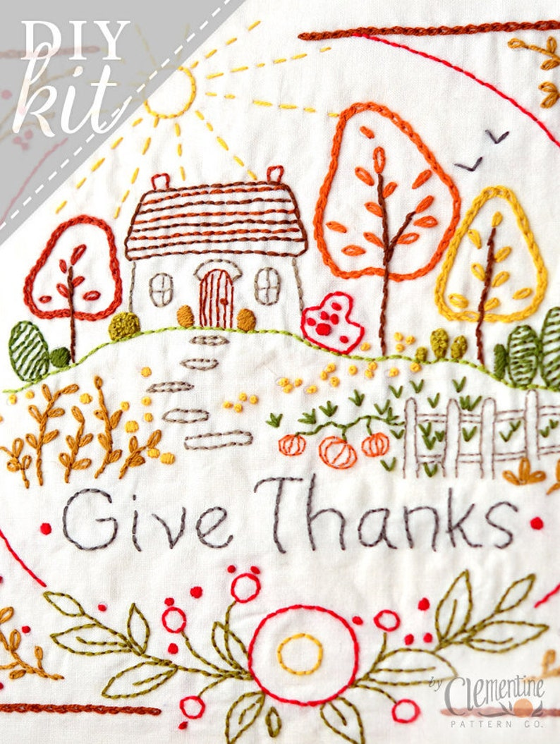 Give Thanks  Autumn  Complete Embroidery KIT  Thanksgiving image 0