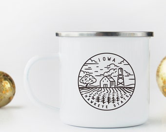 Iowa Mug Outdoorsman Gift For Hiker State Camp With Stainless Steel Rim