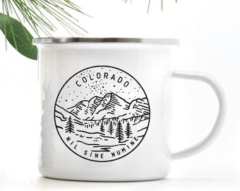 Colorado Mug Hiking Gift, Camping Mug Coffee Cup, Nature Mug with Stainless Steel Rim
