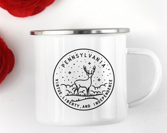 Pennsylvania Mug Camp Cup Outdoorsman Gift Stainless Steel Rim State Adventure For Hiker