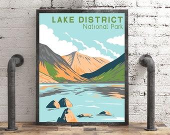 Lake District Poster, UK National Park Print Travel Gift, Vintage Style Lake District Art