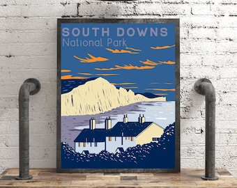 South Downs Print Travel Wall Art, Seven Sisters UK National Park Poster, Vintage Style Sussex Print