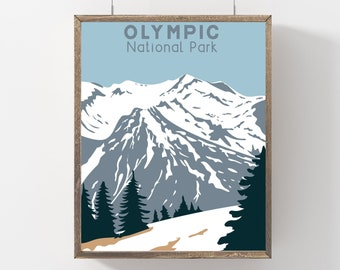 Olympic Poster Washington State Art Print, Olympic National Park Hiking Gift, Travel Wall Decor