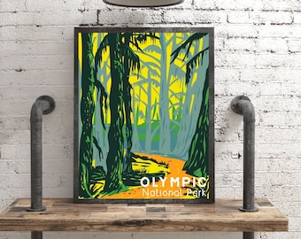 Olympic National Park Poster, Washington State Travel Wall Art, Vintage Style Olympic Print