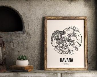 HAVANA LA HABANA Cuba map poster Hometown City Print Modern Home Decor Office Decoration Wall Art Dorm Bedroom Gift