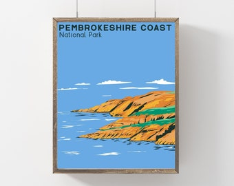 Pembrokeshire Coast National Park Poster, Travel Gift Wales Poster, Vintage Style United Kingdom Print