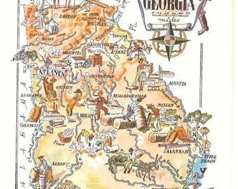Georgia map   Etsy