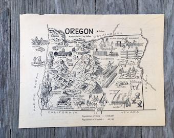 Vintage Oregon Map.Oregon Vintage Map Etsy