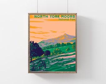 North York Moors National Park Poster, UK Gift Travel Poster, Vintage Style North York Moors Print