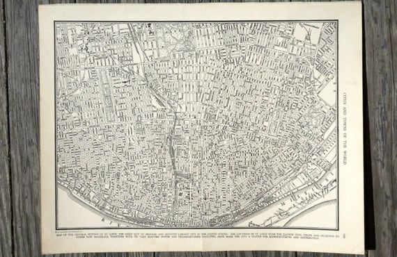City of St Louis Map Wall Art Vintage Map Travel Decor 1939