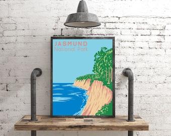 Jasmund National Park Poster, Germany Gift Travel Poster, Vintage Style Deutschland Chalk Cliffs Art Print