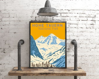 Hohe Tauern National Park Poster, Austria Travel Poster Skiing Gift, Vintage Style Alps Print