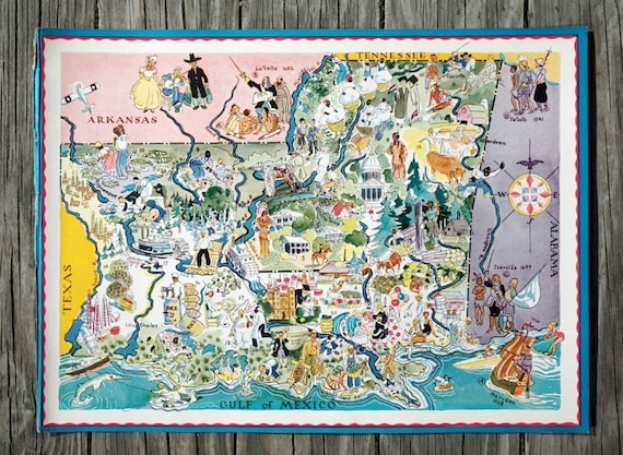 Louisiana Map Decor Mississippi Map Vintage Map Wall Art Etsy