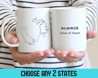 Goodbye Gift for Friend Long Distance Mug, Long Distance Gift, Custom Two States Best Friend Mug