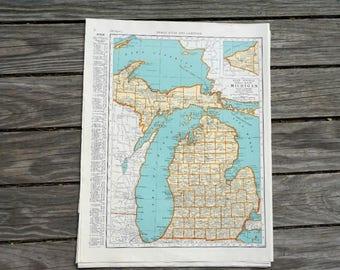 Michigan Map / State Map Michigan / Vintage Map / Atlas Map Wall Art / 1939 Antique Map Travel Decor
