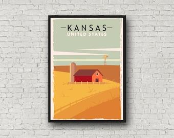 Kansas Poster Travel Print, Vintage Style Kansas Art, Retro Home Decor State Poster