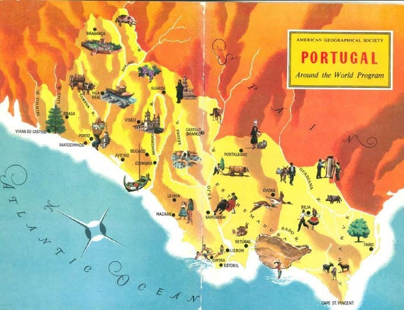 Map of Portugal World Travel Decor / Lisbon and Porto / | Etsy