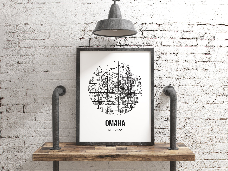 Omaha Nebraska Map, Omaha Wall Art Print, Omaha Map Art Boyfriend Gift,  Black and White Home Decor