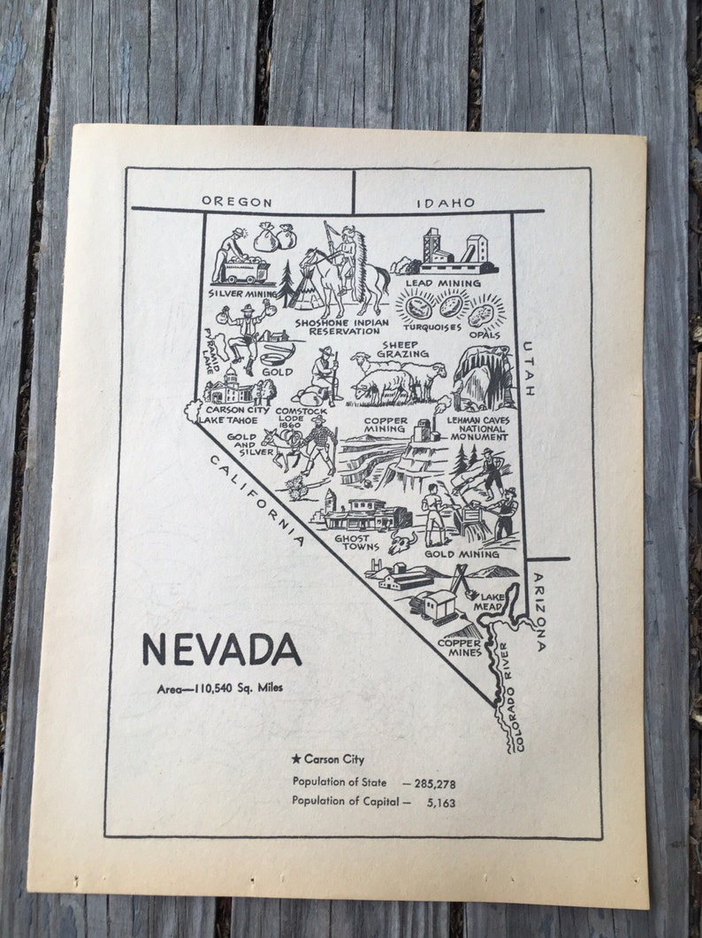 Vintage Nevada Map State Wall Art, 1950s Coloring Book Page Rustic on map of boomtown nevada, map of nevada usa nuketown, map of wyoming cities and towns, map of nevada minerals, map of sierra nevada mountains, detailed map nevada, map of active mines in nevada, lovelock nevada, map of boston and surrounding towns, map of nevada county california, map of nevada reno sparks, show me a map of nevada, map of nevada counties, map of northern nevada, google maps nevada, map of california nevada border, map california-nevada arizona, map of north nevada, driving map of nevada, map of grand canyon nevada,