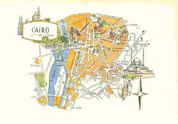 Cairo Map Art / Vintage Map or Cairo Egypt / Old Map | Etsy