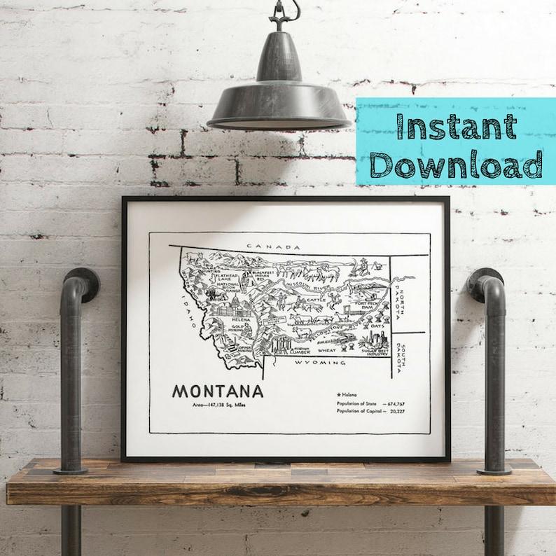 Montana Wall Art DIGITAL Print, Montana Gifts State Wall Art, Montana Map  Instant DOWNLOAD