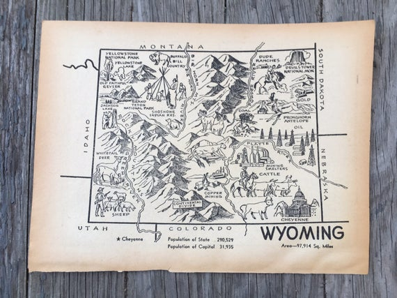 Wyoming Map Coloring Book Page / Vintage Map Art / 1950s   Etsy
