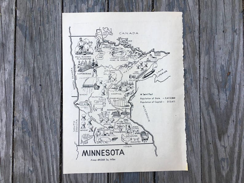 Minnesota Map Art / Vintage Map Coloring Book Page /   Etsy