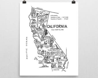 California Wall Art, California Map Travel Decor, '50s Vintage Map State Print