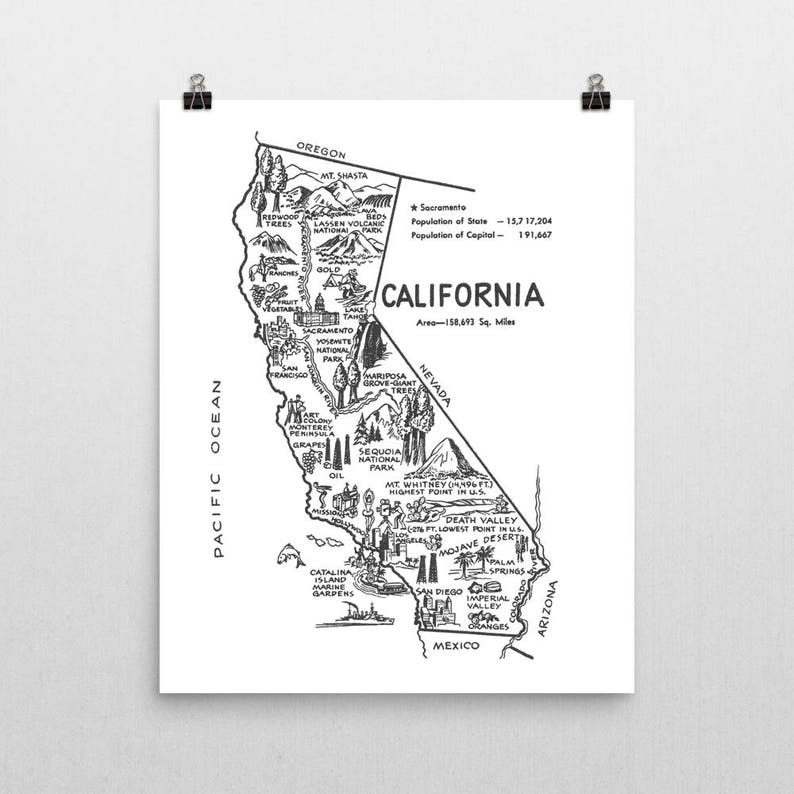 California Print California Wall Art California Map Etsy