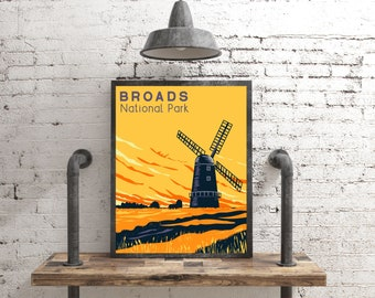 The Broads National Park Poster, Rustic Decor Travel Poster, Vintage Style Broads Print